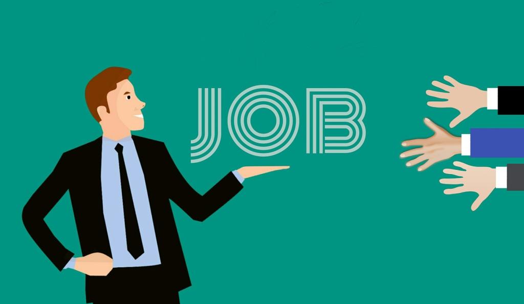 Piirretty kuva, joka esittää rekrytoijaa ja työmahdollisuuksien tarjoamista