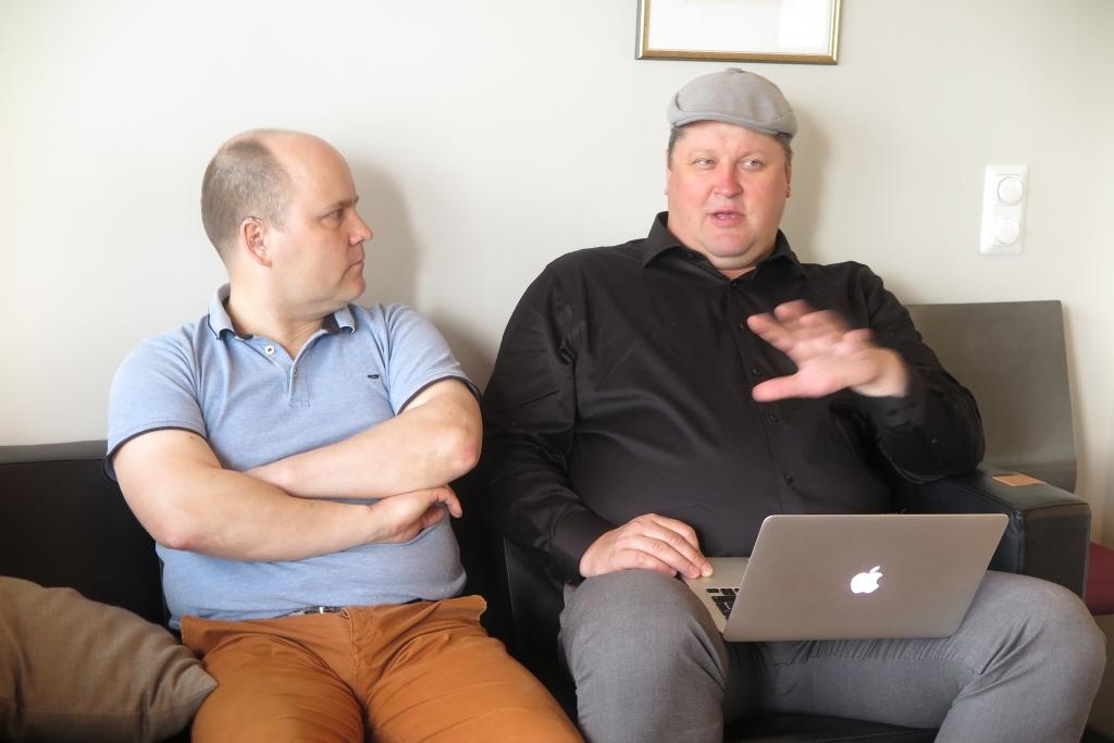 Jukka Kämäräinen ja Ville Kolehmainen kertovat yrityksensä tuotekehityksestä ja kansainvälistymissuunnitelmista.