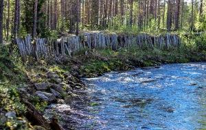 Valokuvassa on joki, jonka rannalla on pystyistä kokopuista rakennettu seinämä.